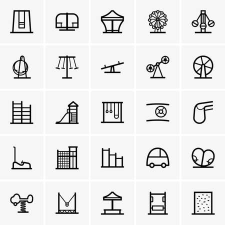 children playground: Amusement park icons Illustration