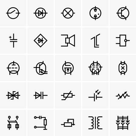 resistor: Electronic components icons