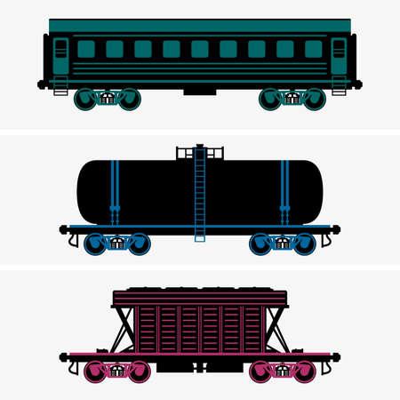 railcar: Railroad cars Illustration