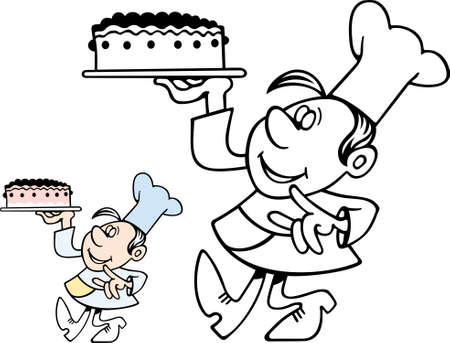 confectioner: Confectioner carrying a cake