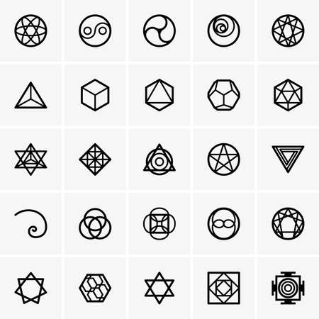 Sacred geometry icons Illustration