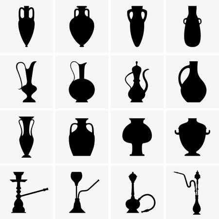antique vase: Amphoras, jugs, vases, hookahs Illustration