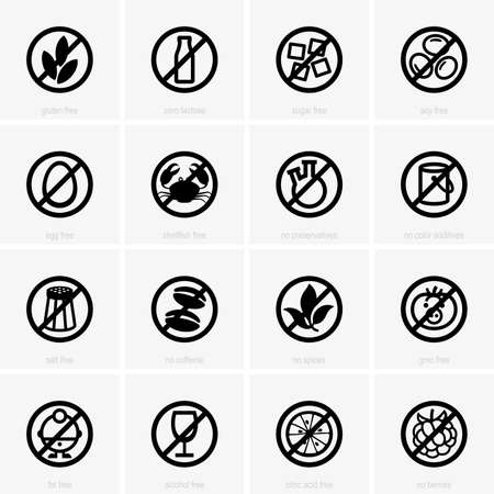 Allergen free icons Vector