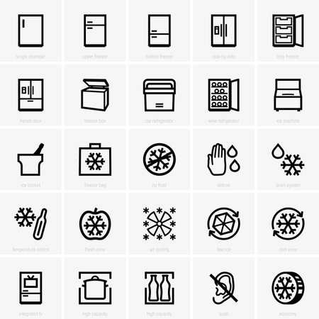 icônes Congélateur Vecteurs