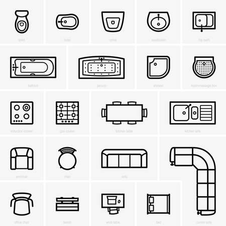 Top view furniture icons Stock Illustratie