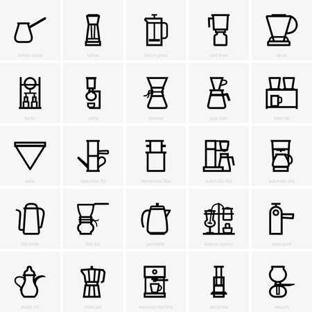 Coffee maker icons Çizim