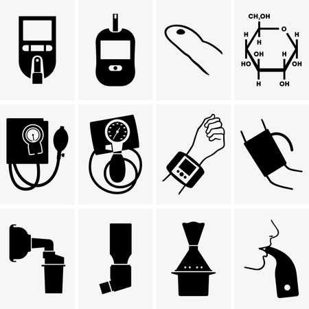 Glucometer tonometer inhaler Stock Illustratie