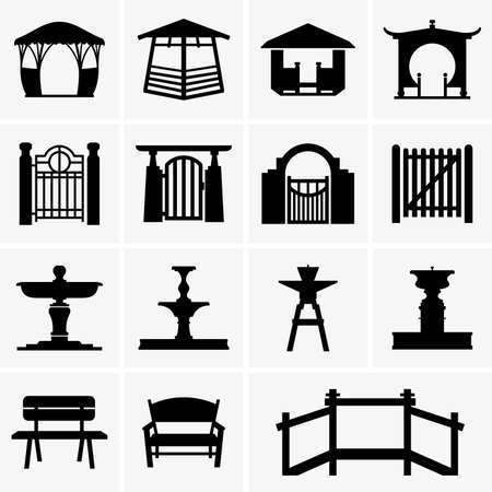 Arbors gates fountains benches