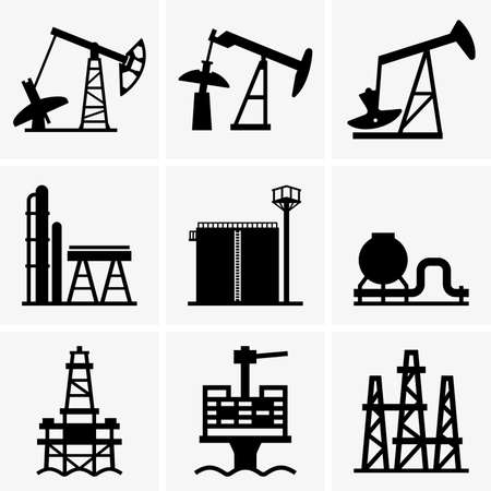 rig: Oil rig and refinery Illustration