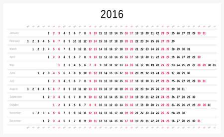 scheduler: Vector calendar 2016