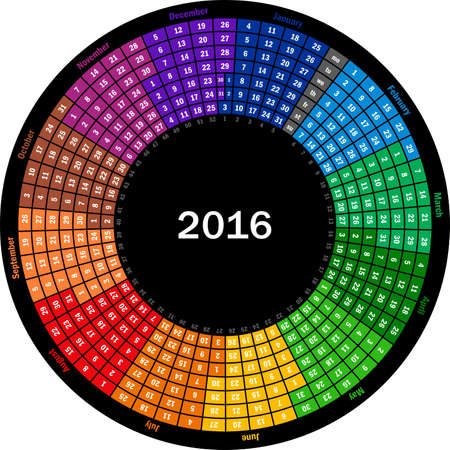 months of the year: Round calendar 2016