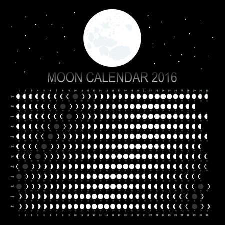 calendario: Calendario de Luna 2016 Vectores
