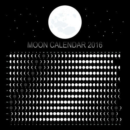 agenda year planner: Moon calendar 2016