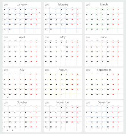 agenda year planner: Vector calendar 2017