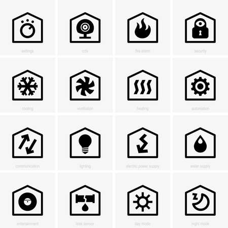 night and day: Smart home icons Illustration