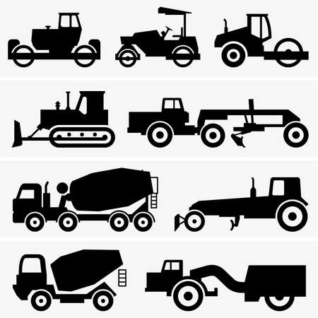 Road construction machinery Illustration