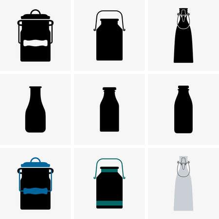 leche: Latas de leche y botellas Vectores