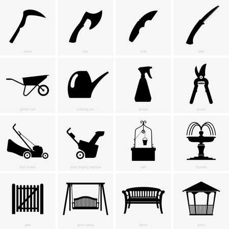 garden fountain: Garden objects Illustration