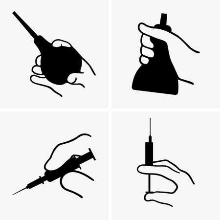 einlauf: Hand mit einem medizinischen Geräten