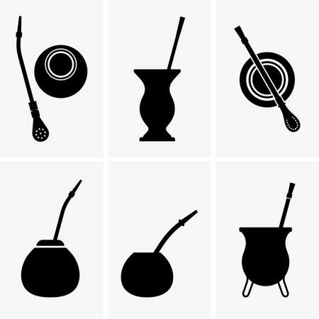 yerba mate: Vasos y palitos de yerba mate