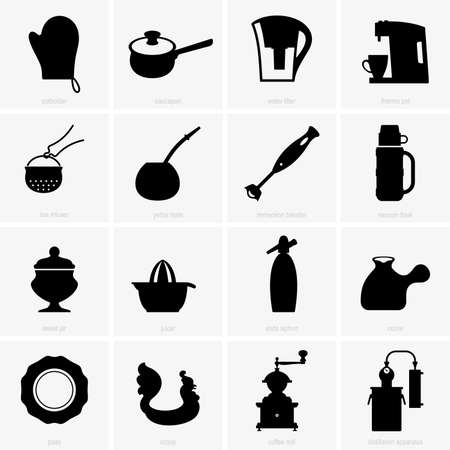 immersion: Kitchen appliances shade pictures Illustration