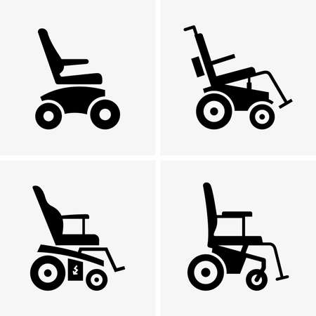 Semoventi sedie a rotelle Immagini ombra Vettoriali