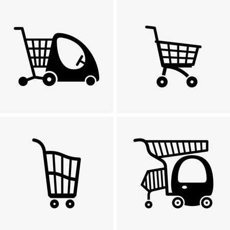 kid shopping: Children shopping carts Illustration