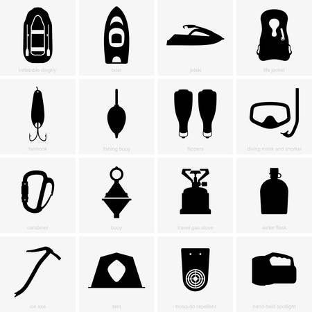 water repellent: Fishing  camping icons