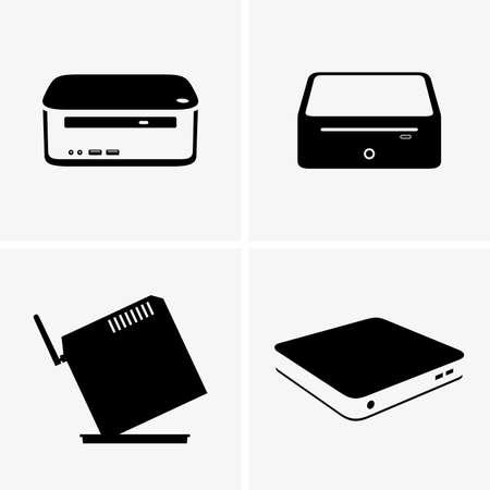 icono computadora: nettop PC Vectores
