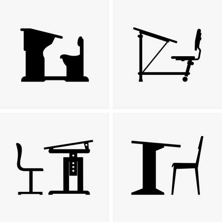 school icon: School desks