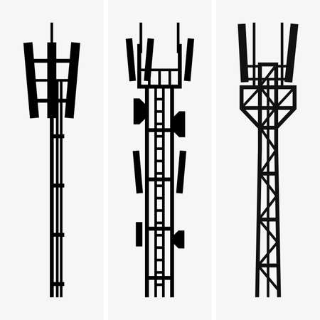 communications tower: Telecommunications towers Illustration