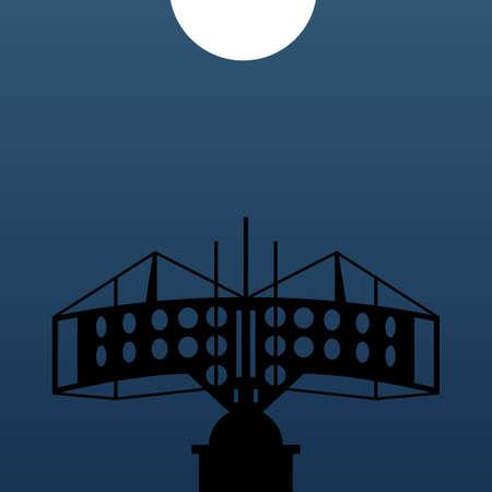 anti war: Modern anti-aircraft radar at night Illustration