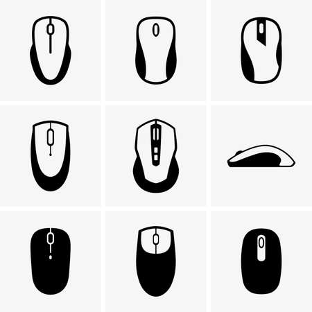 on computer: Computer mouses Illustration