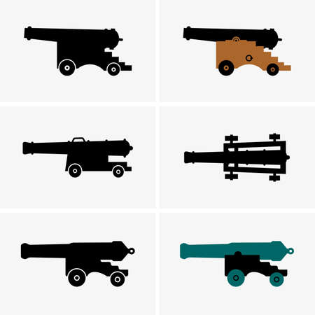 weapons: Old cannons, shade pictures Illustration