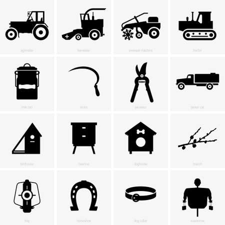 agrimotor: Farm objects, shade pictures Illustration