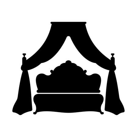king bed: King bed, shade picture Illustration