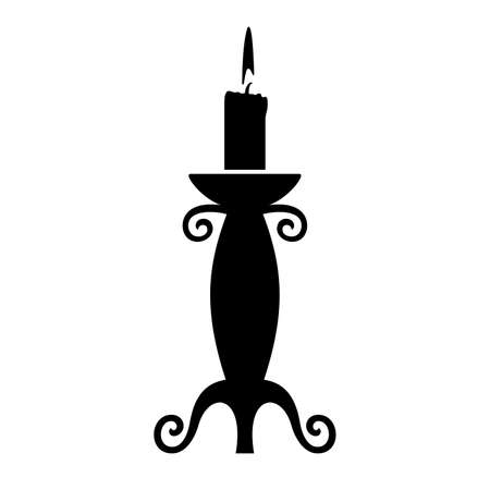 candlestick: Candle in the candlestick, shade picture Illustration