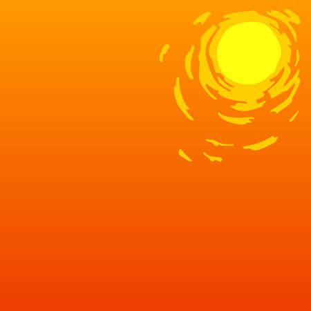 El calor del verano en el fondo de color naranja