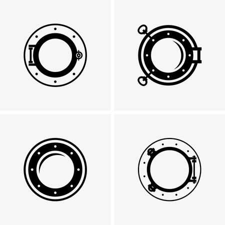 Ship portholes, shade pictures Illustration
