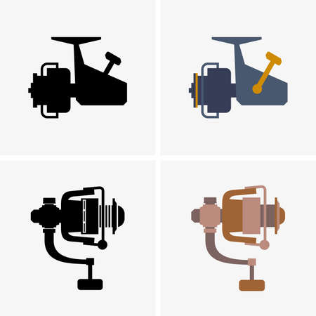 spinning: Spinning reels, shade pictures Illustration