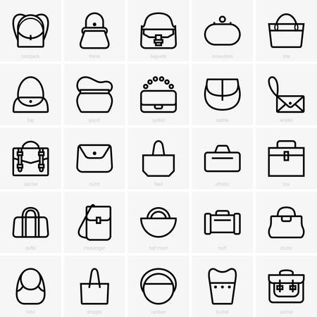 muff: bags icons Illustration