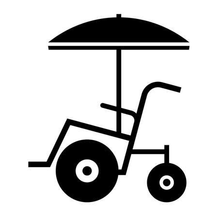 paraplegico: Playa silla de ruedas, cortina cuadro Vectores