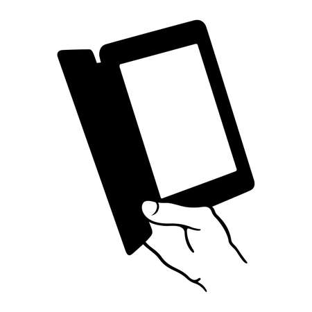 book reader: Hand holding an electronic book reader Illustration