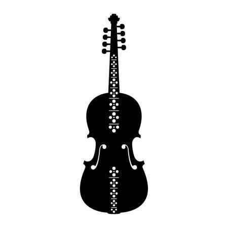 fiddles: Hardanger fiddle, musical instrument, shade picture Illustration