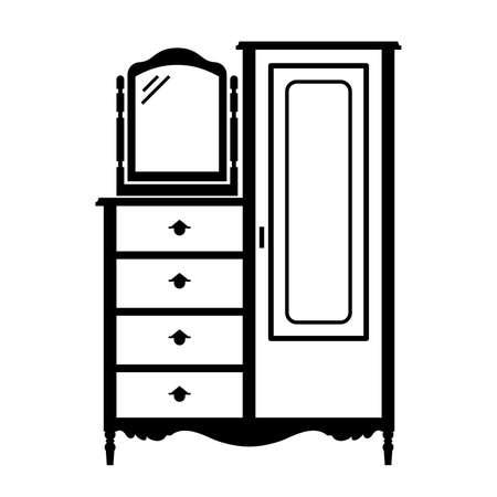dresser: Antique dresser armoire with a mirror