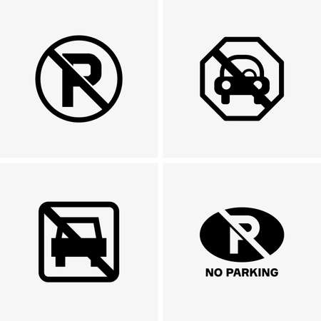 street symbols: No parking signs Illustration