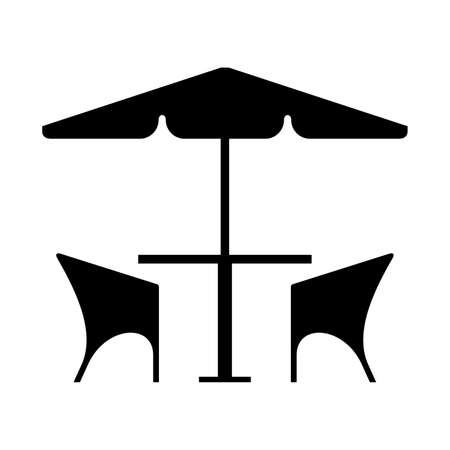 cafe table: Cafe table and chairs under an umbrella, shade picture