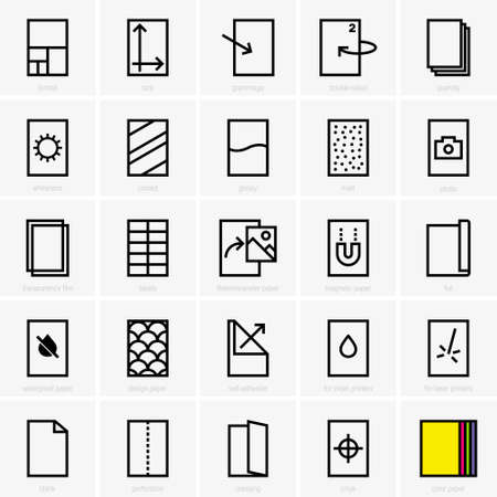 coated: Paper properties icons
