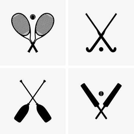 Tennis, cricket, hockey, raften Vector Illustratie