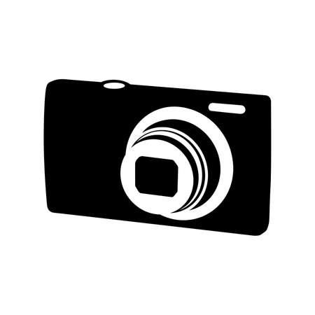 multimedia icon: Compact photo camera, shade picture Illustration
